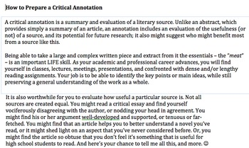 Annotating a Critical Article