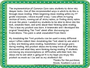 Annotating the Text Pack- All CCSS Standards