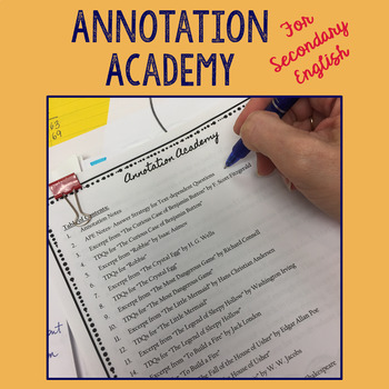 Annotation Academy- Back to School Materials for Secondary English