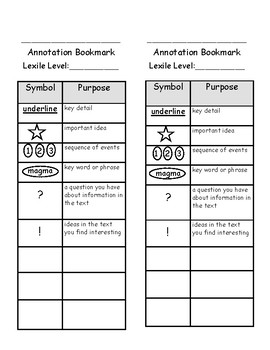 Annotation Bookmark with Editable Fields (Lexile Level)