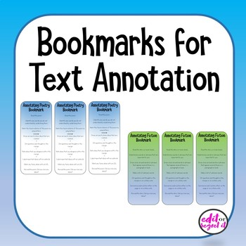 Annotation Bookmarks for Non-fiction, Fiction, and Poetry