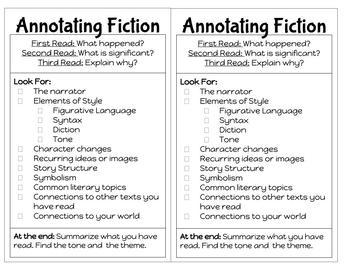 Annotation Cards for Fiction: Print and GO!