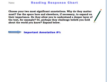 Interactive Reading Chart: Organizer for Analysis & Questions about Text