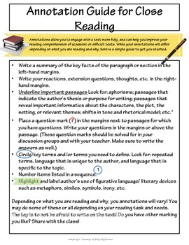 Annotation Guide for Close Reading