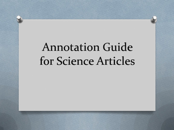 Annotation Guide for Science Reading