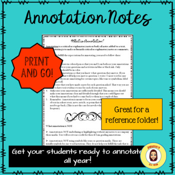 Annotation Notes for Secondary English/Middle School