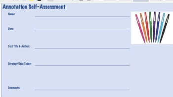 Annotation Self-Assessment - Reading Skills Inventory, Checklist, Exit Slips