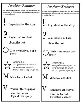 Annotation Symbols Bookmark