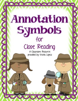 Annotation Symbols for Close Reading - Green and Purple