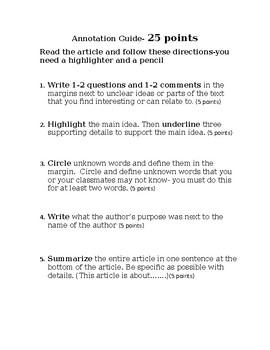Annotation guide for reading informational text articles