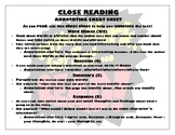 Annotations/Close Reading Place Mat
