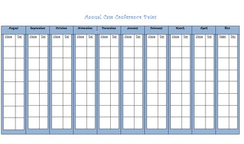 Special Education: Annual Case Conference Review Calender, At a Glance!