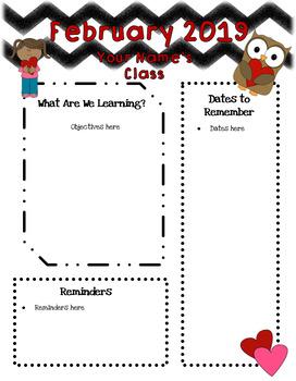 Annual Class Newsletter 12 Months EDITABLE