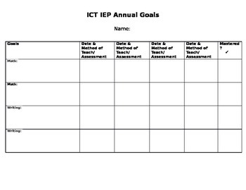 Annual Goals Template