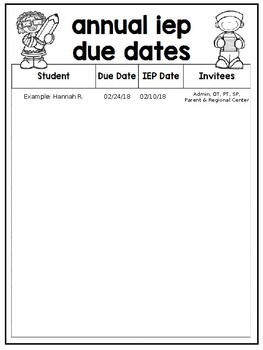 Annual IEP Date List