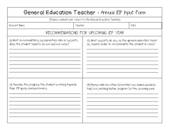 Annual IEP Input Form