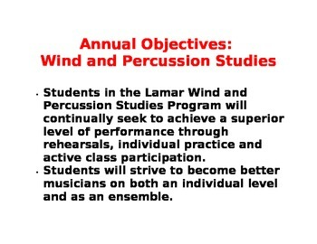 Annual Objectives for Band Class