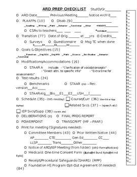 Annual Review Checklist