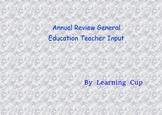 Annual Review General Education Teacher input