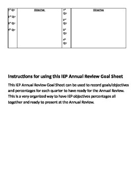 Annual Review IEPGoal Reporting Sheet
