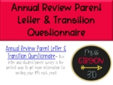 Annual Review Parent Letter and Transition Survey (Editable)