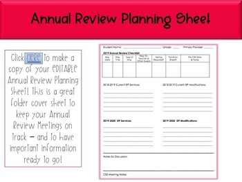 Annual Review Planning Sheet - Editable