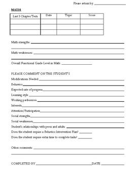 Annual Review Teacher Questionnaire