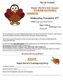 Annual Thanksgiving Dinner Invitation