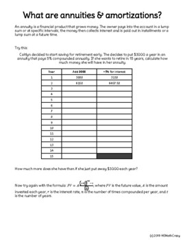Annuities & Amortizations Notes