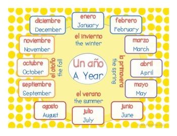 ~FREE~GRATIS~Año Bilingüe, Bilingual Months of Year Chart