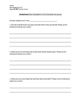 Anonymous Feedback Form For Student Led Lesson.