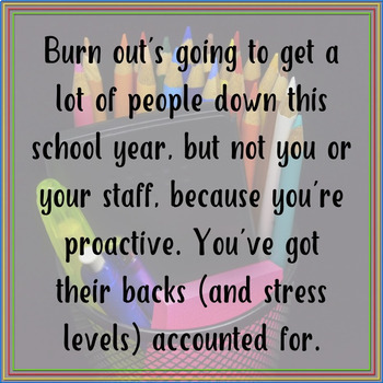 Back to School: Anonymous Teacher Motivation Program for Burn Out Prevention