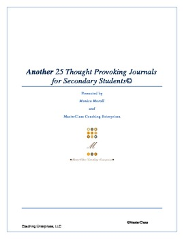 Another 25 Thought Provoking Journal Questions/Topics for Secondary Students