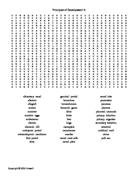 Another Principles of Development Vocabulary Word Search for Zoology