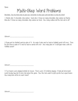 Another Step by Step Multi-Step Word Problems