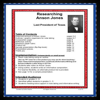 Anson Jones Research Project