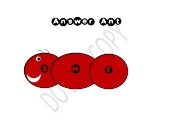 Answer Ant- Elkonin Box (Phonics) or Beginning Middle End- Poster/Worksheet