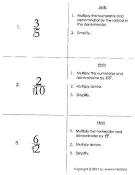 Rationalizing the Denominator: Task Cards