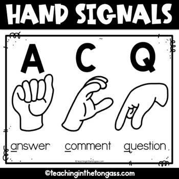 Hand Signals for the Classroom Free Poster