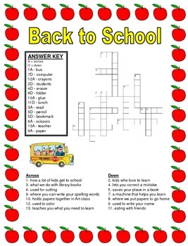 Answer Key - Back to School Puzzle Packet