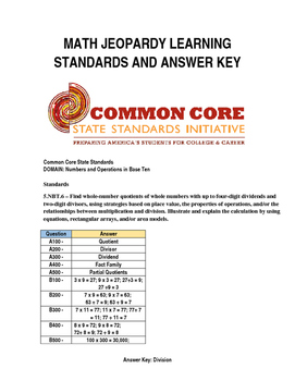 Answer Key & Common Core Standards for Math Jeopardy Game (Division)