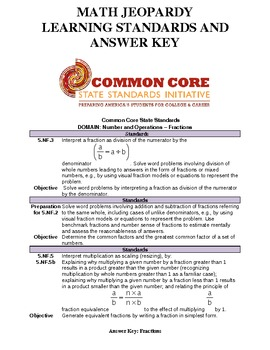 Answer Key & Common Core Standards for Math Jeopardy Game (Fractions)