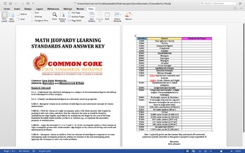 Answer Key & Common Core Standards for Math Jeopardy Game (Geometry)