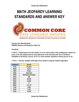 Answer Key & Common Core Standards for Math Jeopardy Game (Multiplication)
