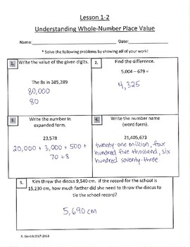 Answer Key - Grade 5 EnVision Math 2 0 Common Core Skills Assessments