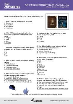Answer Key - The Legend of Sleepy Hollow - Washington Irving (Halloween)