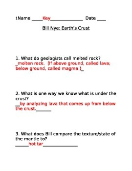 answer key for bill nye 39 s earth 39 s crust video worksheet by naomi mcdonnell. Black Bedroom Furniture Sets. Home Design Ideas