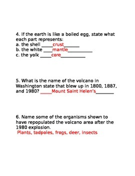 Answer Key for Bill Nye's Earth's Crust Video Worksheet