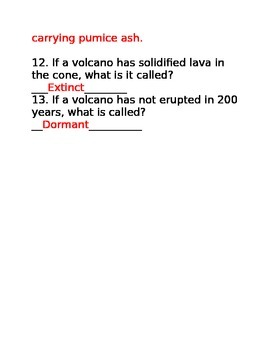 Answer Key for Bill Nye's Volcanoes Lesson 14