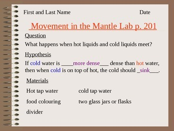 Answer Key for Convection Currents in the Mantle Lab Lesson 4